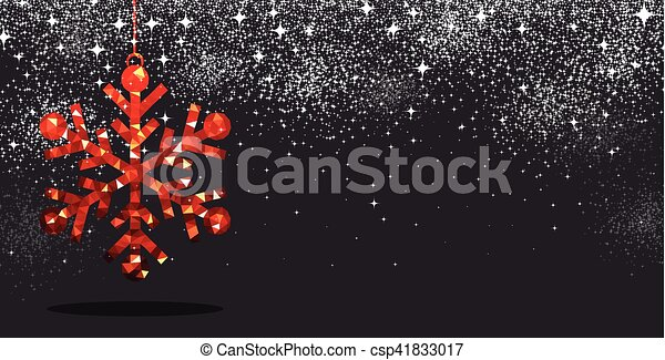 Christmas background with red snowflake. - csp41833017