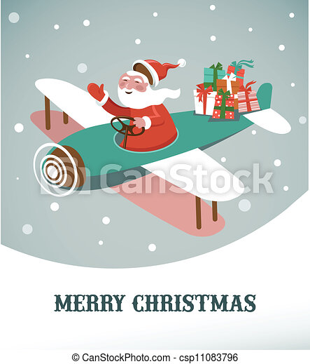 Christmas background with retro airplane and Santa - csp11083796