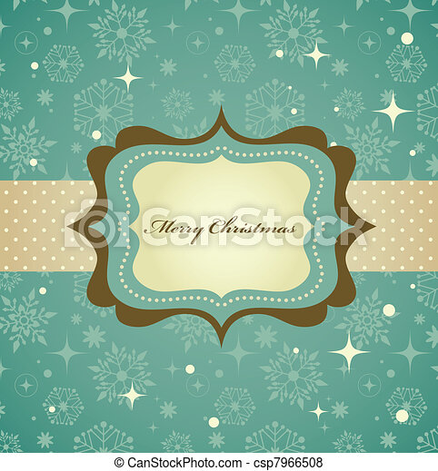 Christmas background with retro pattern and frame - csp7966508