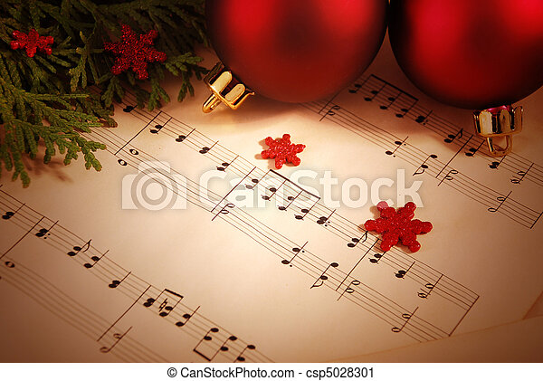Christmas background with sheet music - csp5028301