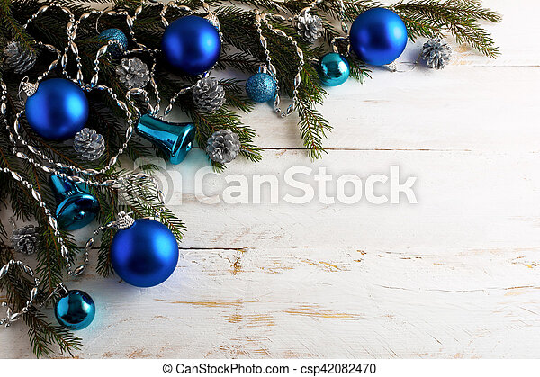 Christmas Background With Silver Pinecone And Blue Ornaments Party Decoration Shiny Balls Copy Space