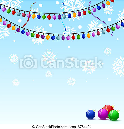 Christmas background with snowflakes and colorful lights - csp16784404