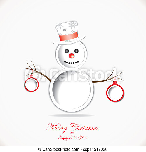 Christmas background with snowman and text place - csp11517030