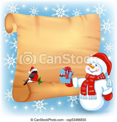 Christmas background with snowman, bullfinch in Santa Claus hat and old paper signboard - csp53486830