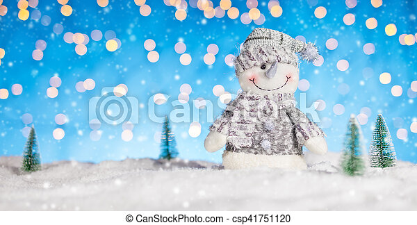 Christmas background with snowman - csp41751120