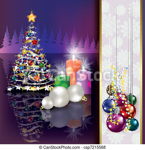 Christmas background with tree and candles - csp7215568