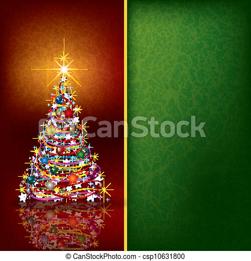 Christmas background with tree and decoration - csp10631800