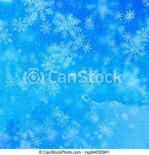 Christmas background with white snowflakes - csp64030901