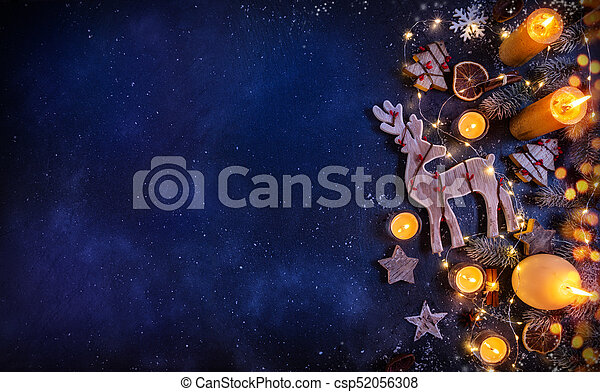 Christmas Background Design.Christmas Background With Wooden Decorations And Candles Free Space For Text