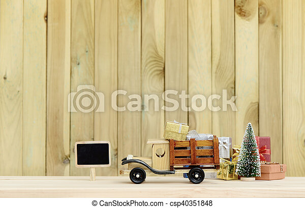 Christmas Backgroundtoy Truck Carries Gifts And A Tree Photo In Vintage Style