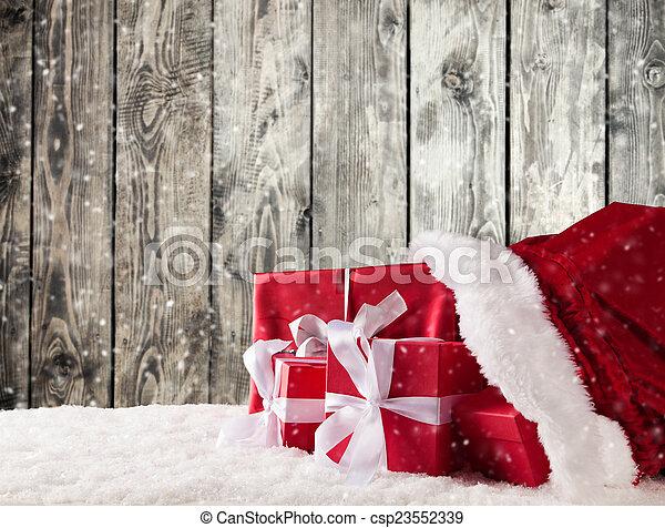 Christmas bag with gifts - csp23552339
