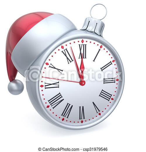 Christmas ball alarm clock new year's eve time santa hat ...