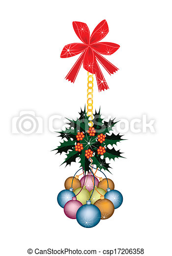 Christmas Ball and Christmas Holly with Red Bow - csp17206358