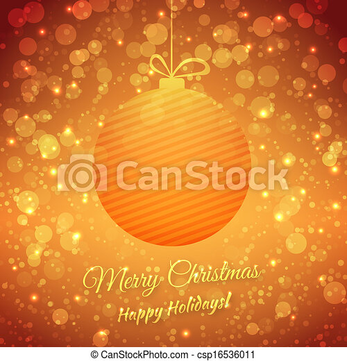 Christmas Ball. Blurred Festive Vector Background. Merry Christmas And Happy Holidays. Greeting Card - csp16536011