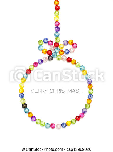 Christmas ball decorate by colorful beads on white background  - csp13969026