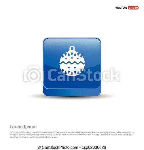 Christmas Ball Icon - 3d Blue Button - csp62036826