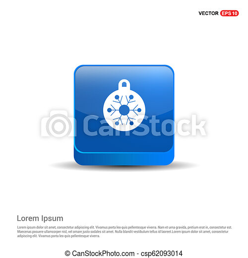 Christmas Ball Icon - 3d Blue Button - csp62093014