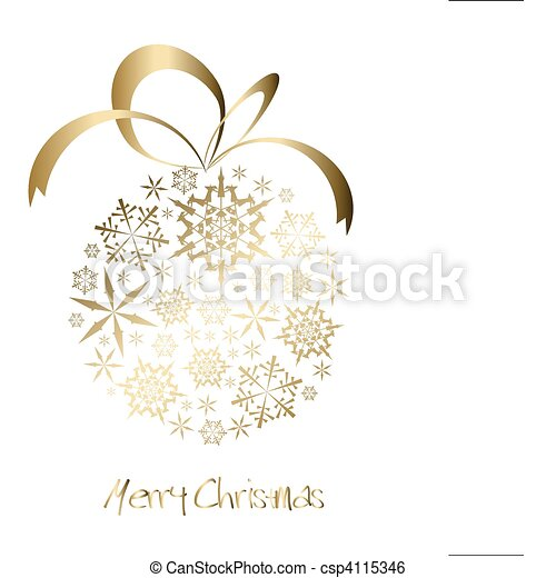 Christmas ball made from golden snowflakes - csp4115346