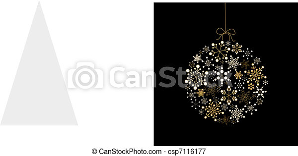 Christmas ball made from golden snowflakes - csp7116177