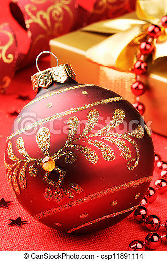 Christmas ball on festive background - csp11891114