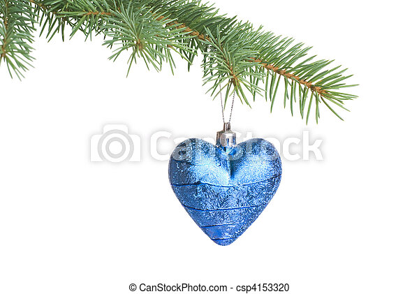 Christmas ball on fir tree branch isolated on white - csp4153320