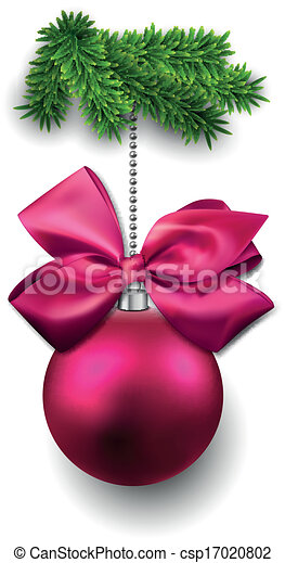 Christmas ball on fir twigs. - csp17020802