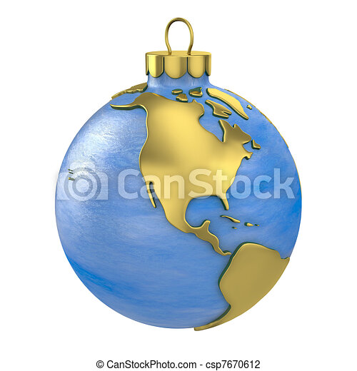 Christmas ball shaped as globe or planet,North America part - csp7670612