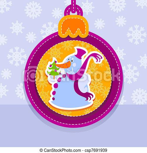 Christmas ball, snowman - csp7691939