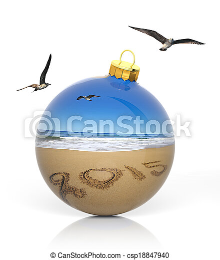 Christmas ball with 2015 written on sandy beach - csp18847940