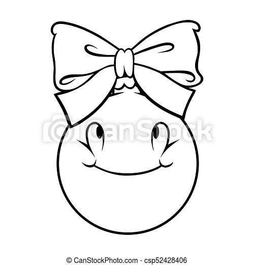 Cartoon Christmas Ball With A Bow Outline On White Background