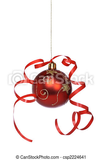 Christmas ball with a ribbon - csp2224641