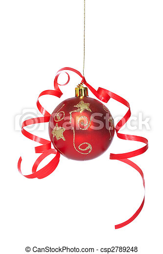 Christmas ball with a ribbon - csp2789248