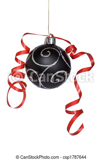 Christmas ball with a ribbon - csp1787644