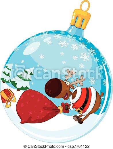 christmas ball with deer and a bag - csp7761122