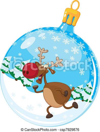 christmas ball with deer - csp7929876
