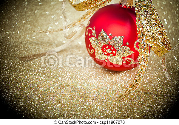 Christmas ball with golden ribbon - csp11967278