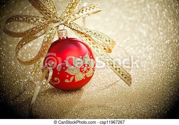 Christmas ball with golden ribbon - csp11967267