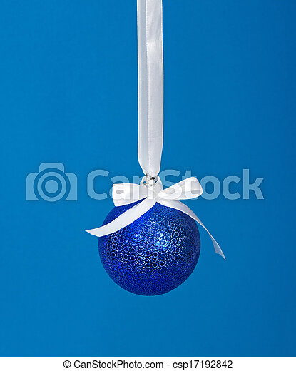 Christmas ball with white ribbon - csp17192842