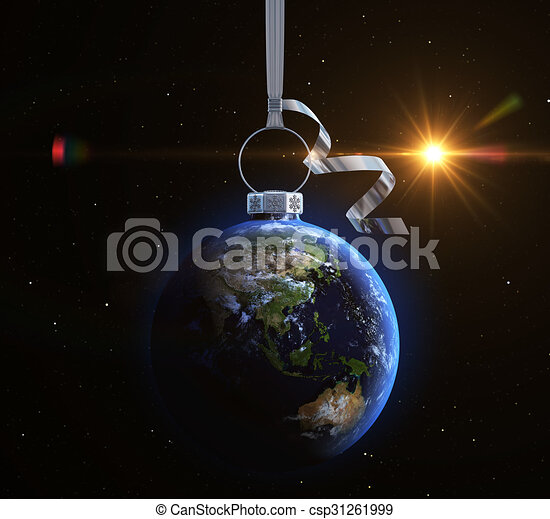 Christmas ball with world map texture - csp31261999