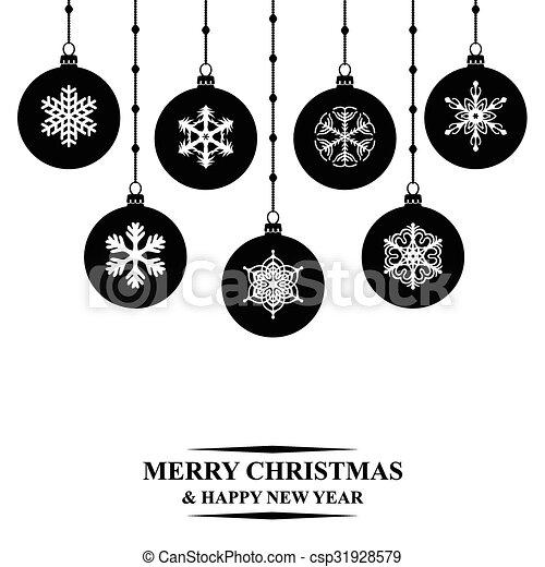 Hanging Christmas Ornaments Silhouette.Christmas Balls Card