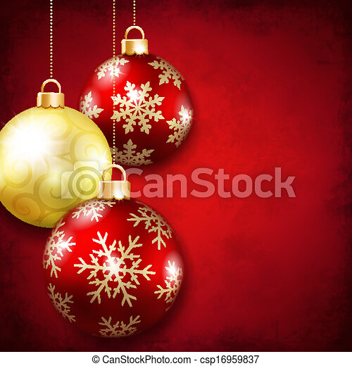 Christmas balls on a red background - csp16959837