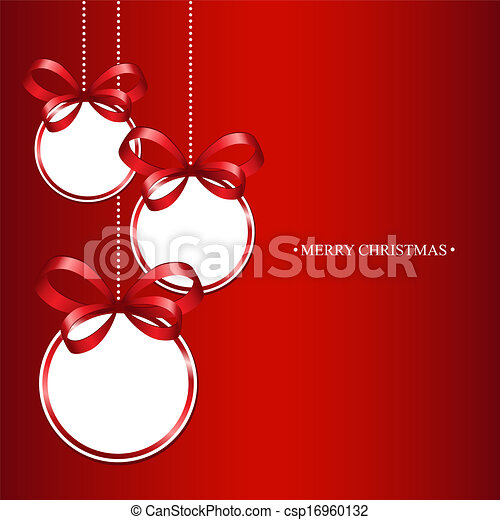 Christmas balls on a red background - csp16960132