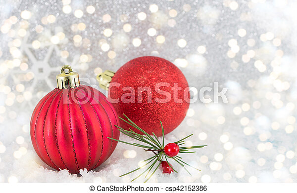 Christmas balls on shiny silver background - csp42152386