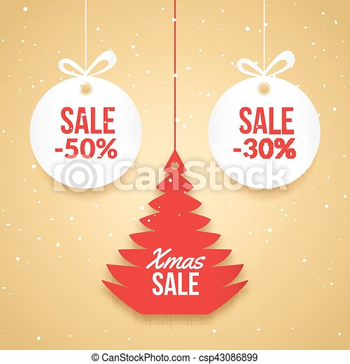 Christmas Balls Sale Special Offer Vector Tag New Year  Eps