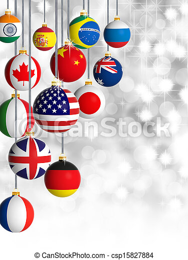 Christmas balls with different flags - csp15827884