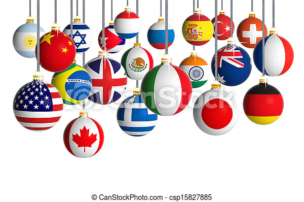 Christmas balls with different flags hanging on white background - csp15827885