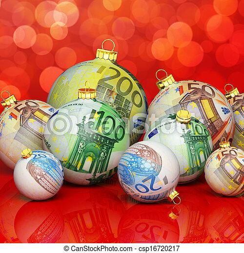 Christmas balls with money texture - csp16720217