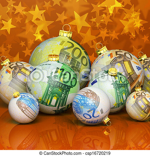 Christmas balls with money texture - csp16720219
