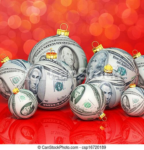 Christmas balls with money texture - csp16720189