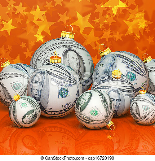 Christmas balls with money texture - csp16720190